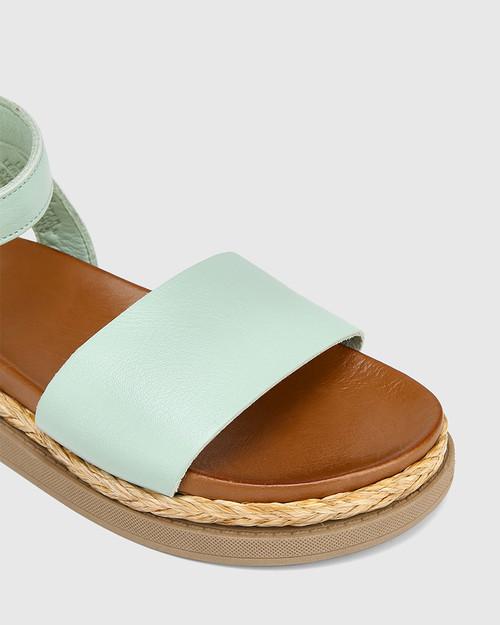 Zoeey Aqua Green Leather Ankle Strap Sandal & Wittner & Wittner Shoes