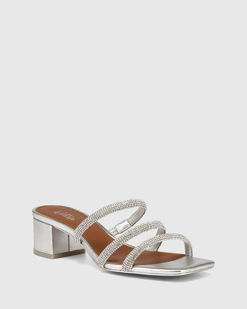 Gravity Silver Metallic Diamante Sandal & Wittner & Wittner Shoes