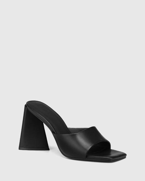 Ralina Black Leather Angular Heel Sandal & Wittner & Wittner Shoes