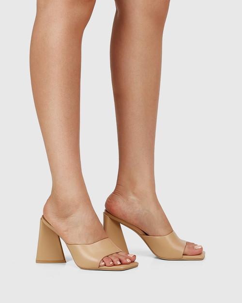 Ralina Sand Leather Angular Heel Sandal & Wittner & Wittner Shoes