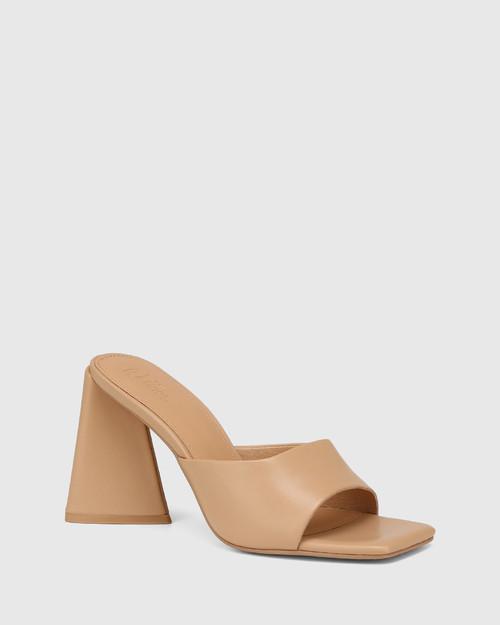 Ralina Sand Leather Angular Heel Sandal
