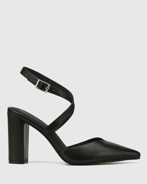Hawkins Black Leather Block Heel Pump & Wittner & Wittner Shoes