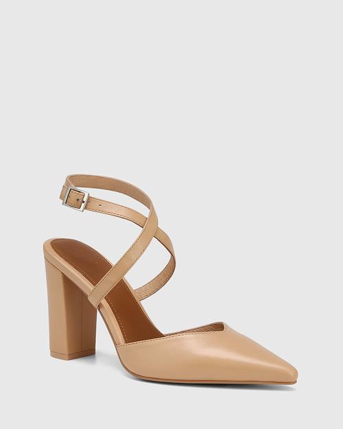 Hawkins Sand Leather Block Heel Pump & Wittner & Wittner Shoes