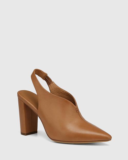 Hunton Golden Tan Leather Block Heel Slingback