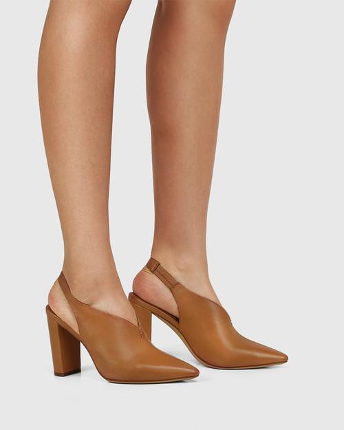 Hunton Golden Tan Leather Block Heel Slingback & Wittner & Wittner Shoes