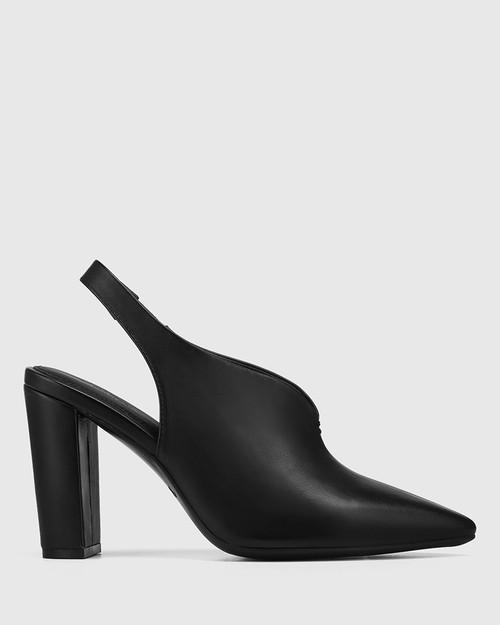 Hunton Black Leather Block Heel Slingback & Wittner & Wittner Shoes