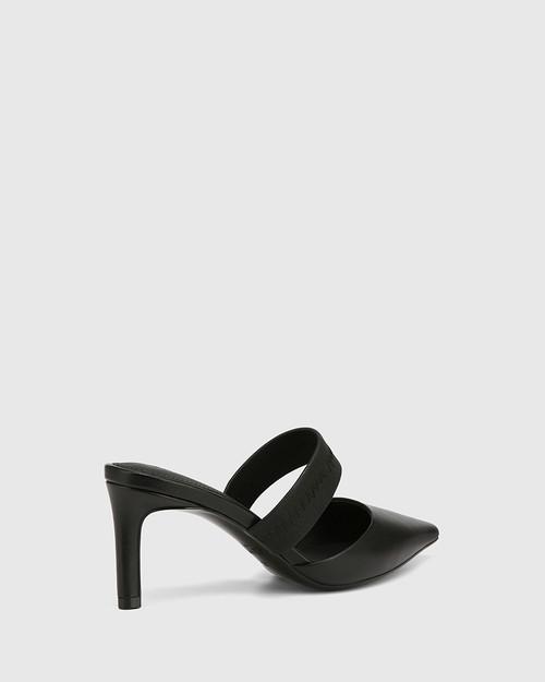 Pettie Black Leather Stiletto Heel Mule & Wittner & Wittner Shoes