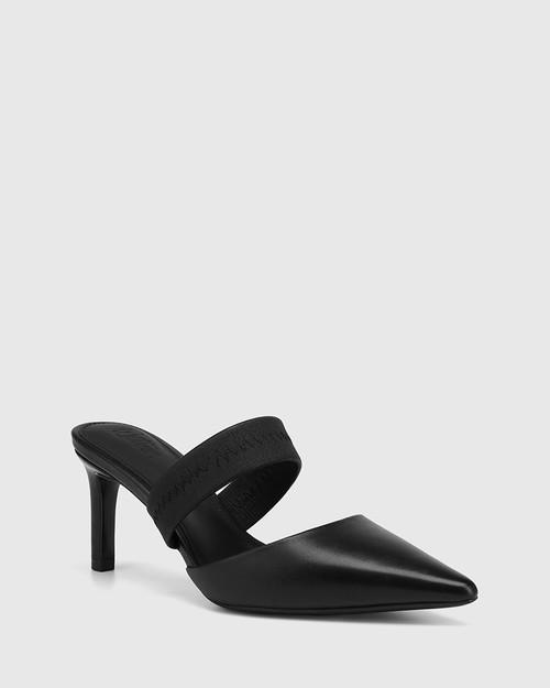 Pettie Black Leather Stiletto Heel Mule
