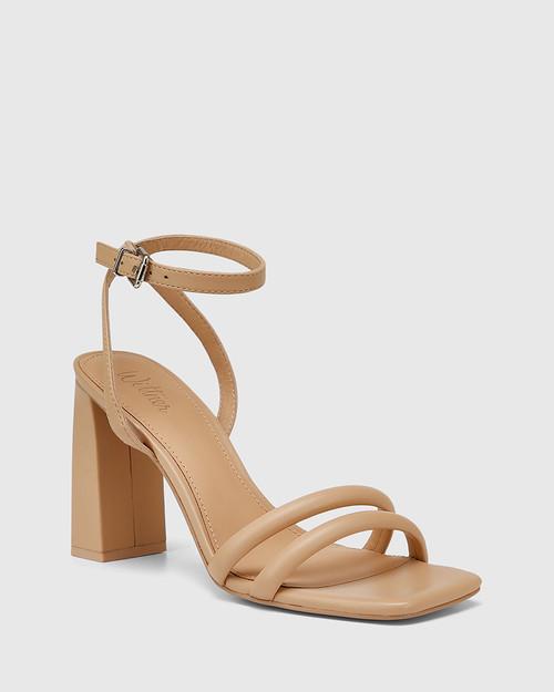 Rema Sand Leather Block Heel Sandal