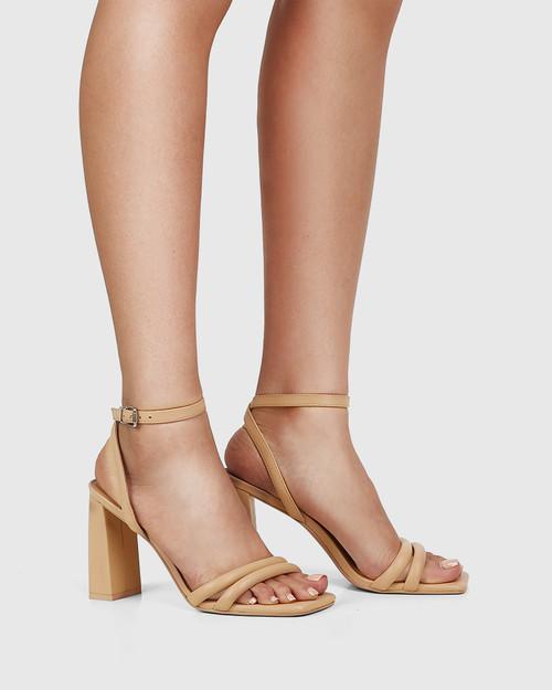 Rema Sand Leather Block Heel Sandal & Wittner & Wittner Shoes