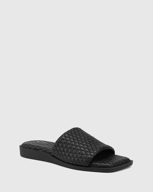 Arkk Black Quilted Leather Slide