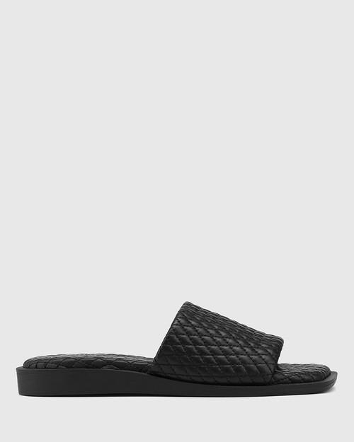 Arkk Black Quilted Leather Slide & Wittner & Wittner Shoes