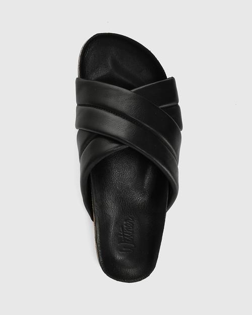 Amirah Black Leather Cork Slide & Wittner & Wittner Shoes