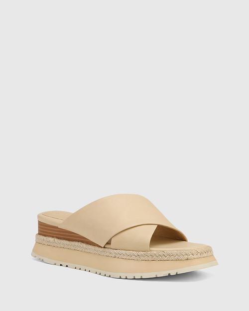 Floss Beige Leather Wedge Slide