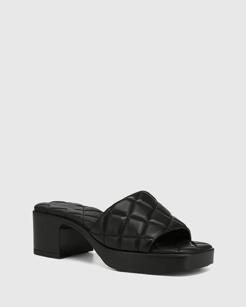 Kiyomi Black Quilted Leather Heeled Slide
