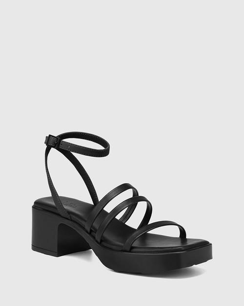 Kathryn Black Leather Strappy Sandal