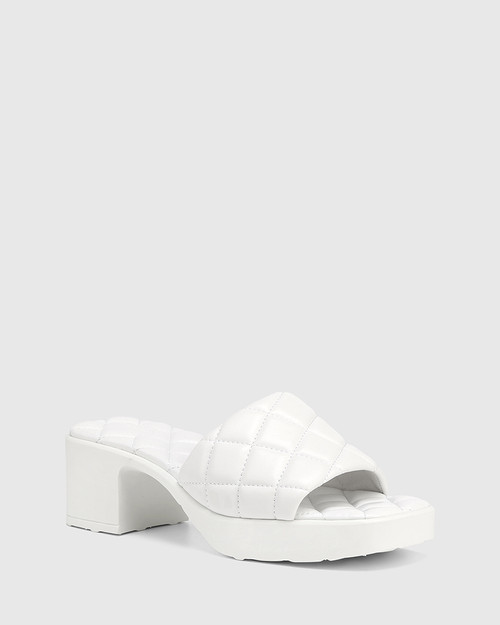 Kiyomi White Quilted Leather Heeled Slide