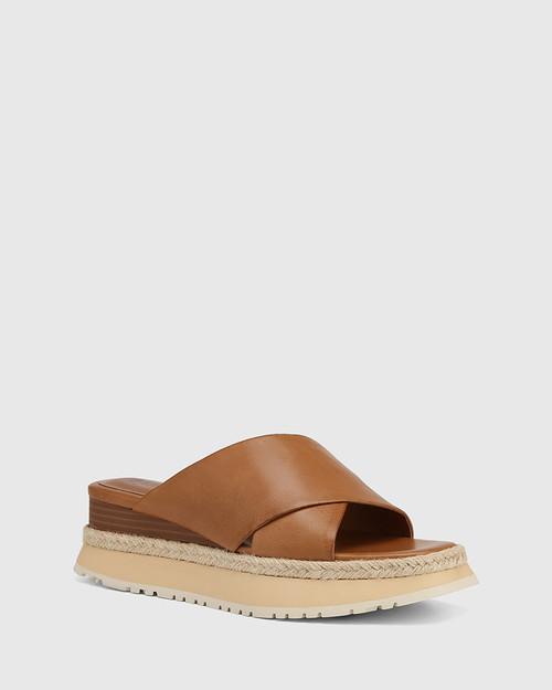 Floss Golden Tan Leather Wedge Slide
