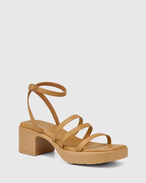 Kathryn Camel Leather Strappy Sandal