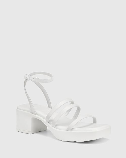 Kathryn White Leather Strappy Sandal