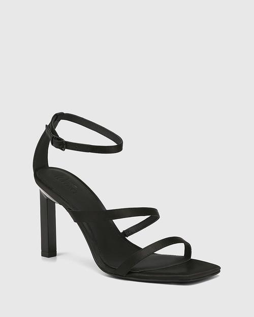 Renai Black Recycled Satin Strappy Sandal