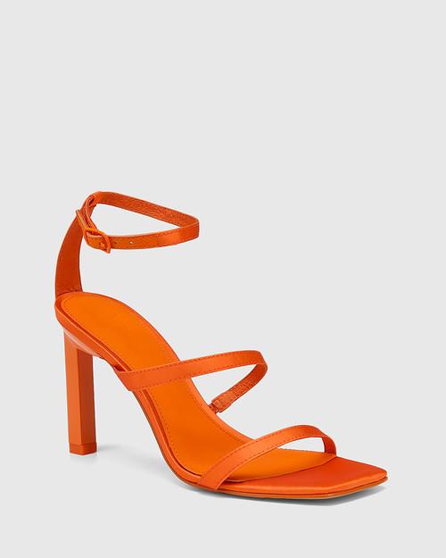 Renai Highlighter Orange Recycled Satin Strappy Sandal.