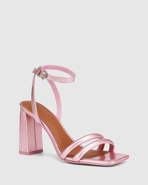 Rema Urchin Pink Patent Block Heel Sandal