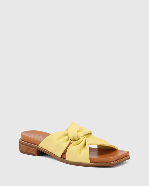 Lotto Yellow Leather Square Toe Slide