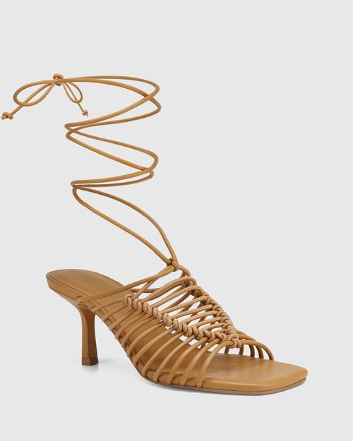Chani Camel Leather Strappy Sandal