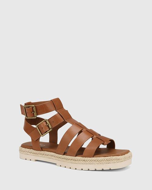 Dory Dark Cognac Leather Strappy Sandal