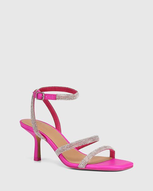Chill Siren Pink Leather Diamante Straps Sandal