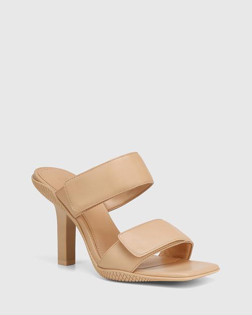 Rexine Sand Leather Stiletto Heel Slide