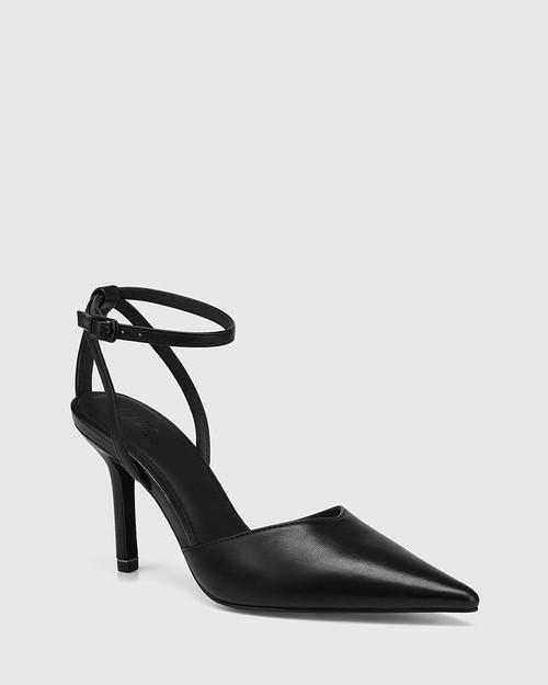 Quintella Black Leather Stiletto Heel