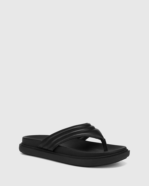 Avivah Black Leather Thong Sandal