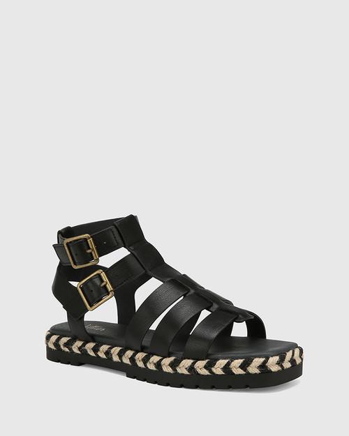 Dory Black Leather Strappy Sandal