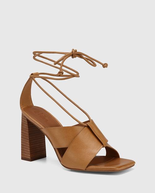 Rapunzel Golden Tan Leather Block Heel Sandal