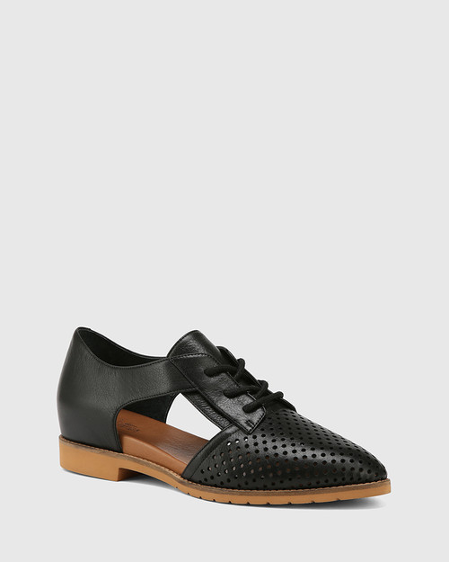 Eugene Black Leather Cut Out Brogue