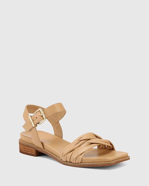 Lismore Golden Tan Leather Twisted Strap Sandal