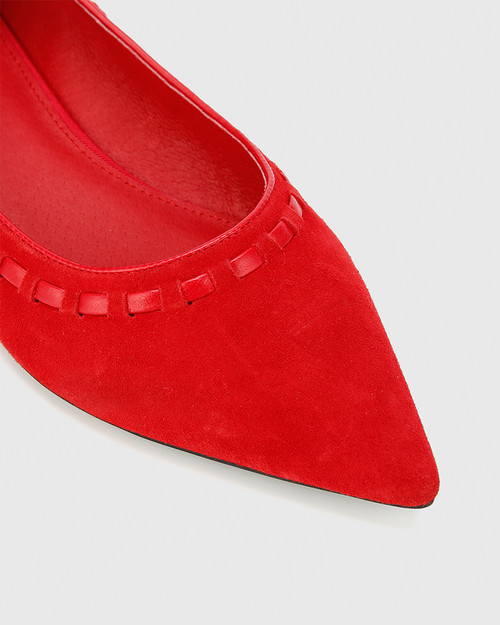 Mallory Red Suede Leather Pointed Toe Loafer.