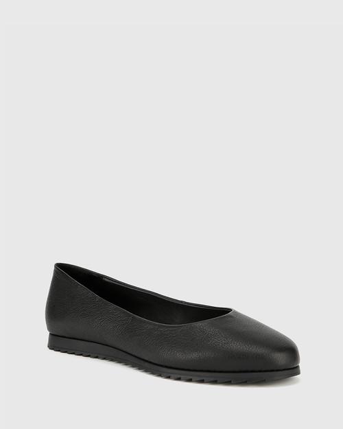 Bindi Black Leather Round Toe Slip On Flat. & Wittner & Wittner Shoes