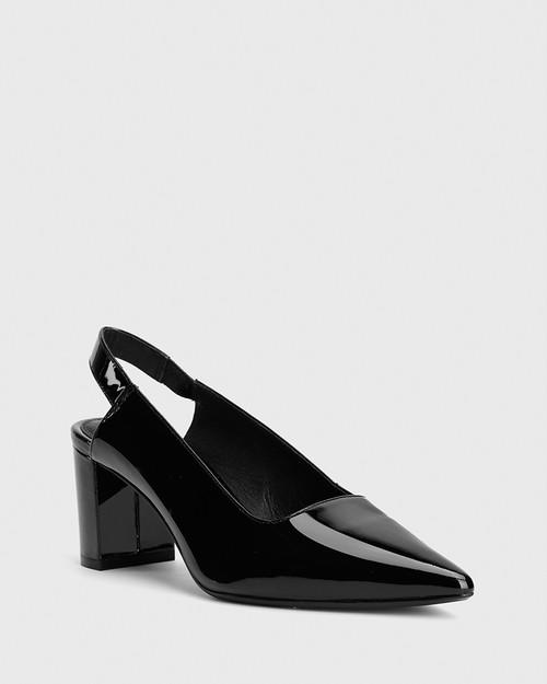 Daveen Black Patent Slingback Block Heel.