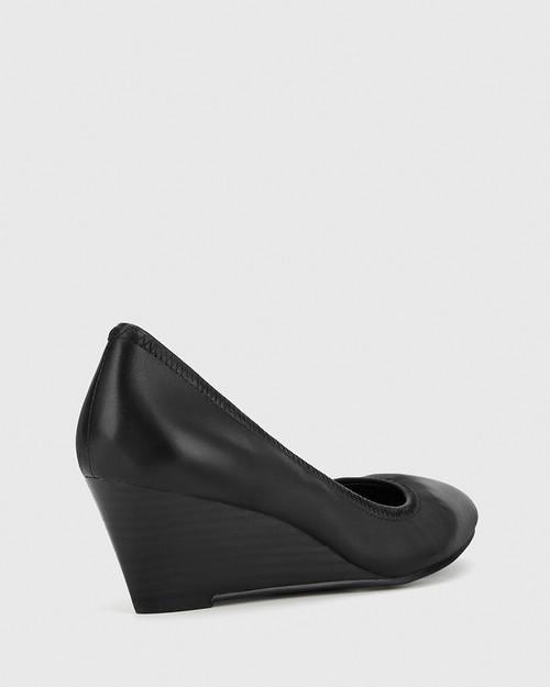 Mirren Black Leather Elasticated Wedge