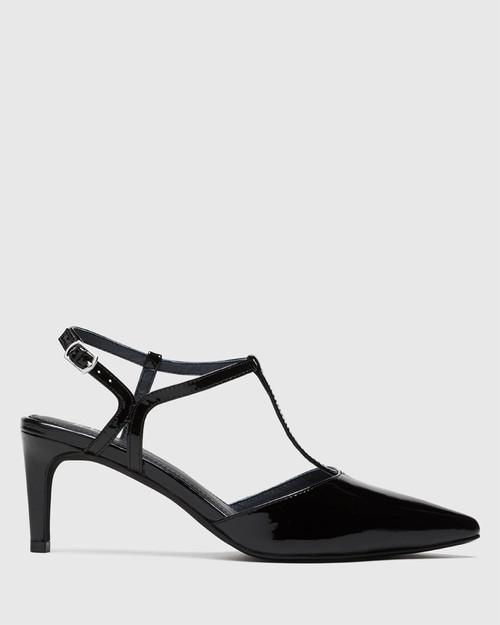 Devin Black Patent Pointed Toe Mid Heel. & Wittner & Wittner Shoes