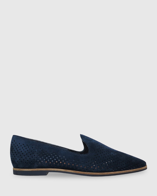 Alvaro Navy Suede Perforated Pointed Toe Loafer.
