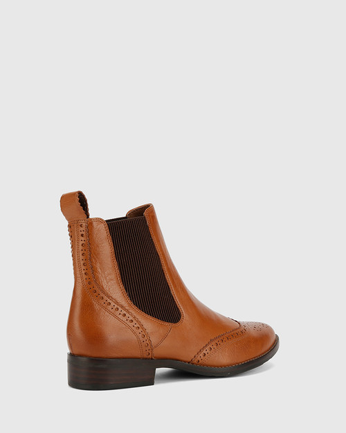 Camilo Dark Cognac Scotch Leather Ankle Boot