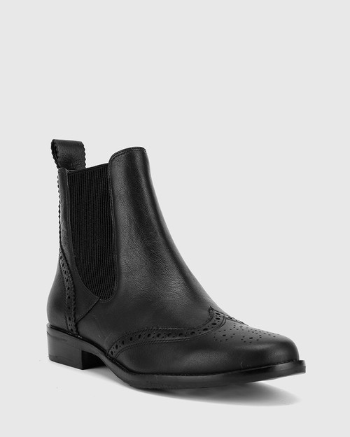 Camilo Black Scotch Leather Round Toe Ankle Boot