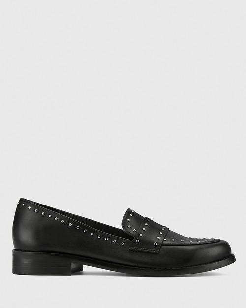 Emelian Black Leather Stud Detail Loafer. & Wittner & Wittner Shoes