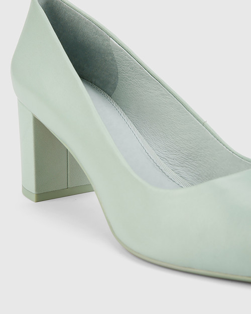 Dalena Sage Nappa Leather Block Pointed Toe Block Heel