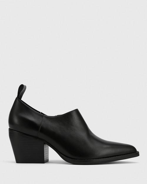 Keisha Black Leather Pointed Toe Block Heel Bootie.
