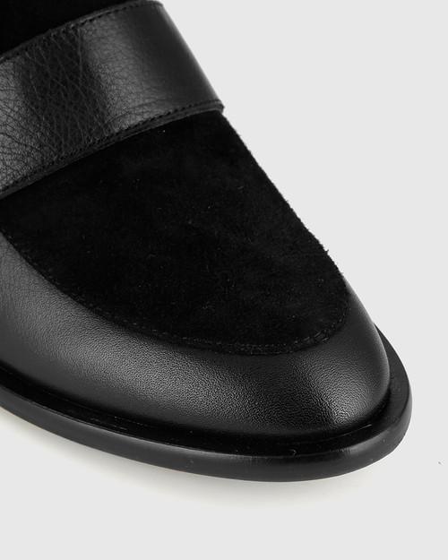 Fallon Black Leather Almond Toe Loafer